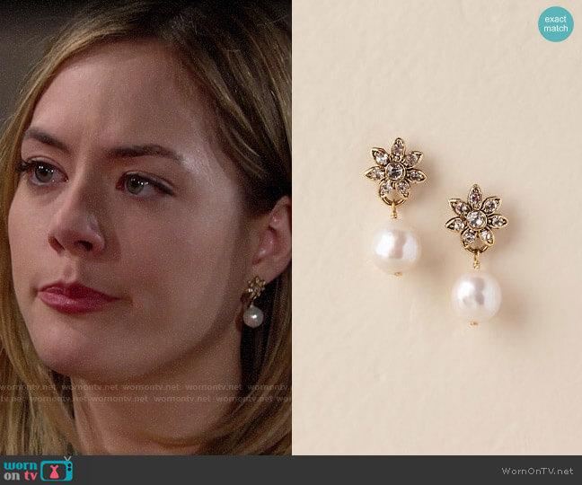 BHLDN Whitley Drop Earrings worn by Hope Logan (Annika Noelle) on The Bold & the Beautiful