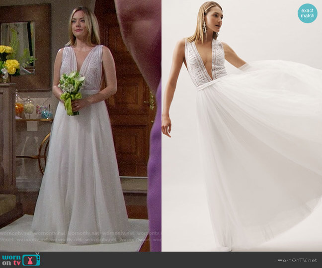 BHLDN Chosen by One Day Sabrina Gown worn by Hope Logan (Annika Noelle) on The Bold & the Beautiful
