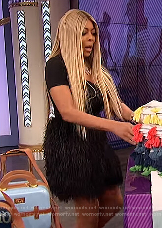 Wendy's black feather mini skirt on The Wendy Williams Show