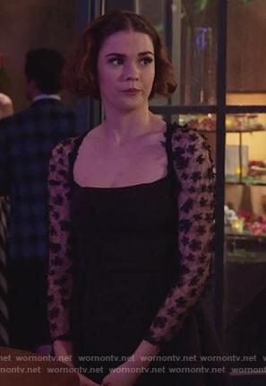 Callie's black floral lace dress on Good Trouble