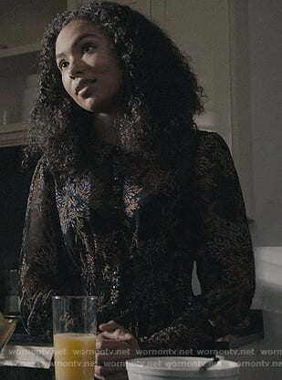 Liv's black floral smocked dress on Scream