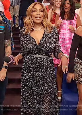 Wendy's black floral maxi dress on The Wendy Williams Show