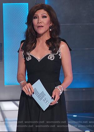 Julie's black pearl embellished dress on Big Brother