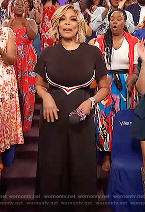 Wendy's black stripe midi dress on The Wendy Williams Show