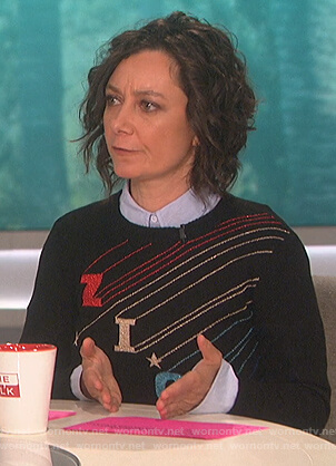 Sara's black Ziggy sweater on The Talk