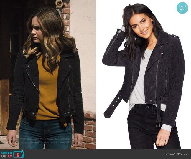 Corduroy Moto Jacket by Blank NYC worn by McKenna Brady (Liana Liberato) on Light as a Feather
