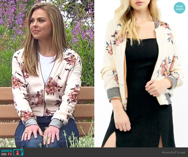 Blossom Print Bomber Jacket by Saltwater Luxe worn by Hannah Brown  on The Bachelorette