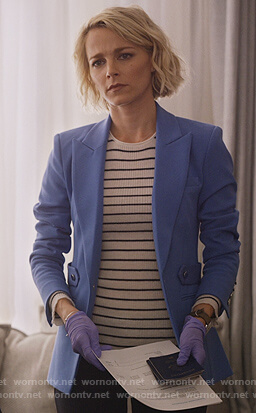 Lizzie's blue single breasted blazer with side tabs on Instinct