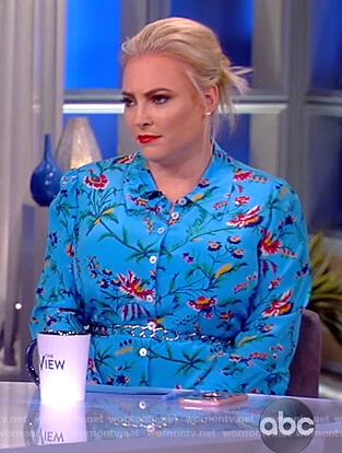 Meghan's blue floral shirtdress on The View
