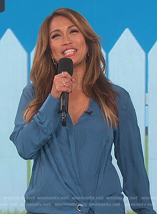 Carrie's blue tie waist blouse on The Talk