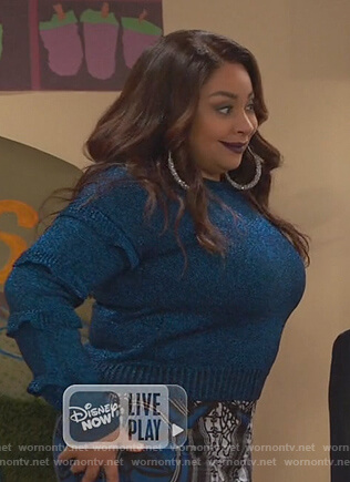 Raven's blue metallic ruffle sleeve sweater on Ravens Home