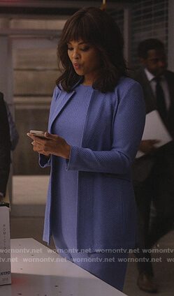 Jasmine's blue textured jacket and dress on Instinct