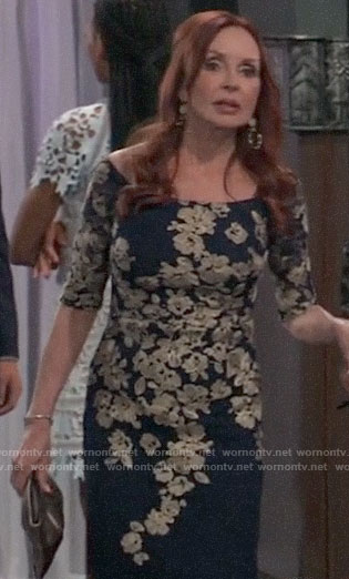 Bobbie's navy and gold floral embroidered dress on General Hospital