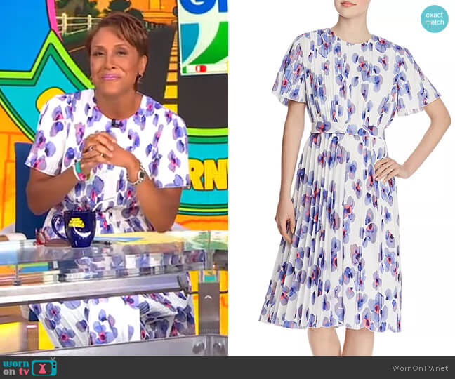 Diplissee Pleated Floral-Print Dress by Boss worn by Robin Roberts  on Good Morning America