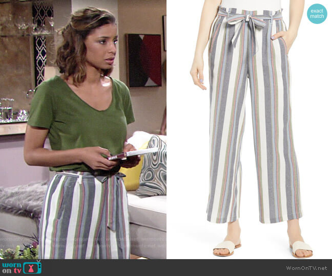 BP Stripe Paperbag Pants worn by Elena Dawson (Brytni Sarpy) on The Young & the Restless