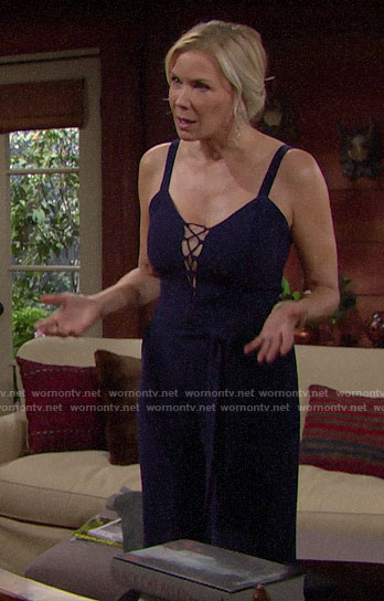 Brooke's navy blue lace-up front jumpsuit on The Bold and the Beautiful