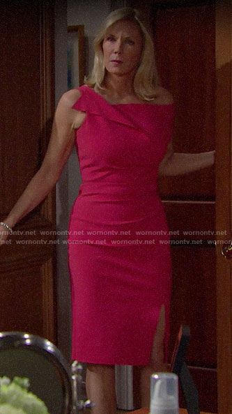 Brooke's pink dress for Hope's wedding on The Bold and the Beautiful
