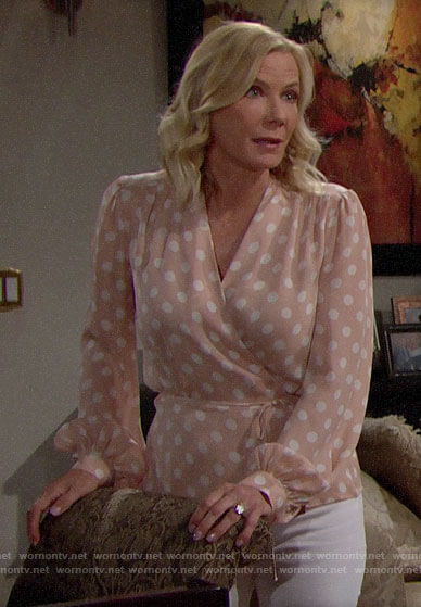 Brooke's polka dot wrap top on The Bold and the Beautiful