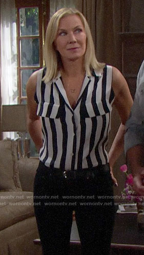 Brooke's striped sleeveless shirt on The Bold and the Beautiful