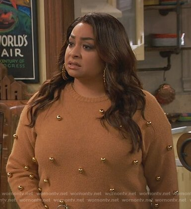 Raven's brown ball embellished sweater on Ravens Home