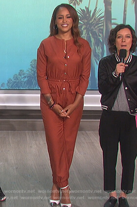 Eve's brown jumpsuit on The Talk