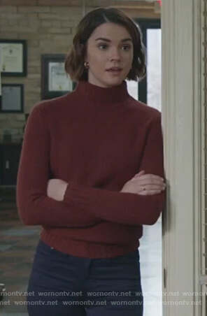 Callie's brown turtleneck sweater on Good Trouble