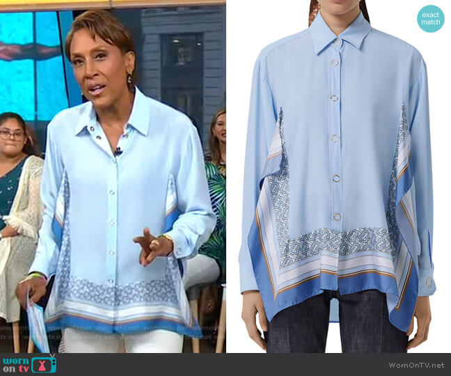 Monogram Print Trim Silk Boyfriend Shirt by Burberry worn by Robin Roberts  on Good Morning America