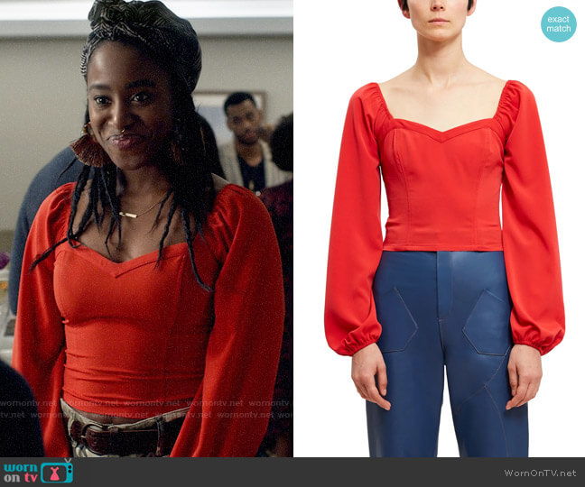 Callipygian Smocked Sweetheart Blouse worn by Nicole Malloy (Kirby Howell-Baptiste) on Veronica Mars