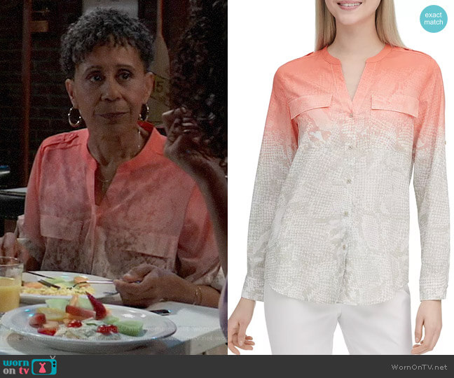 Calvin Klein Cotton Roll-Sleeve Shirt worn by Stella Henry (Vernee Watson) on General Hospital