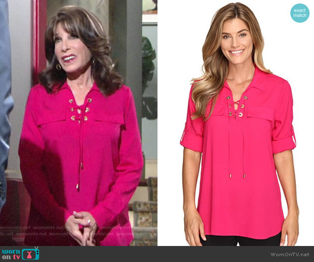 Calvin Klein Modern Essential Lace-Up Blouse worn by Esther Valentine (Kate Linder) on The Young & the Restless