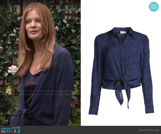 Cami NYC The Joy Floral Silk Tie-Waist Shirt worn by Phyllis Summers (Michelle Stafford) on The Young & the Restless