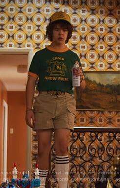 Dustin's green camp tee and cap on Stranger Things