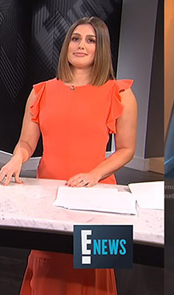 Carissa's orange ruffle sleeve midi dress on E! News