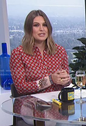 Carissa's red printed blouse on E! News Daily Pop