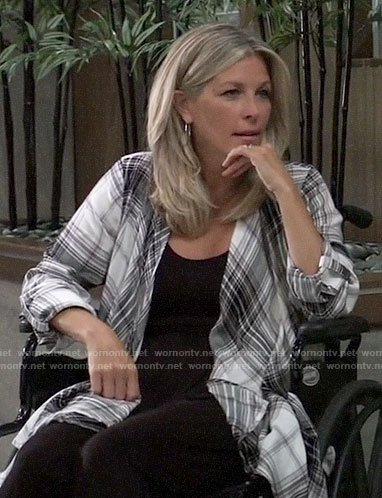 Carly's plaid draped front shirt on General Hospital