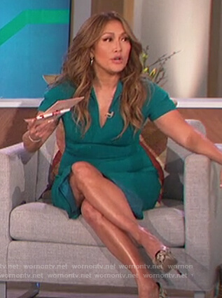 Carrie's green slit sheath dress on The Talk