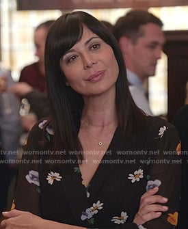 Cassie's black floral wrap dress on Good Witch