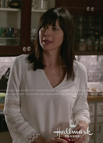 Cassie's white embroidered sleeve top on Good Witch