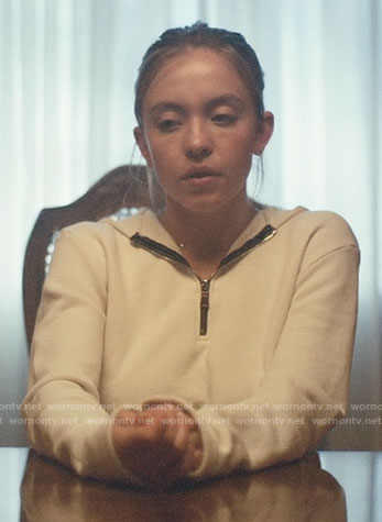 Cassie's white cropped hoodie on Euphoria
