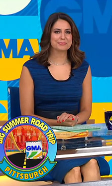 Cecilia's blue scoop neck dress on Good Morning America