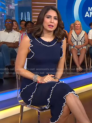 Cecilia's navy ruffled dress on Good Morning America