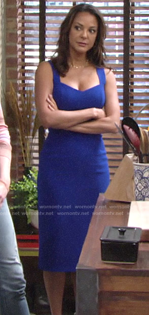 Celeste's blue fitted dress on The Young and the Restless