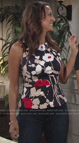 Celeste's floral peplum top on The Young and the Restless