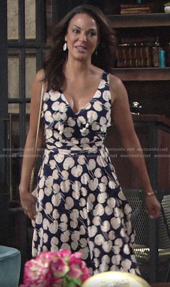 Celeste's navy printed wrap dress on The Young and the Restless