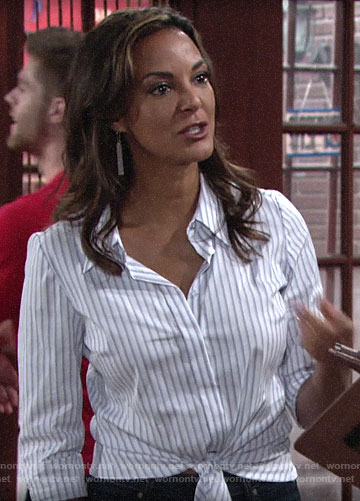 Celeste's striped tie front shirt on The Young and the Restless