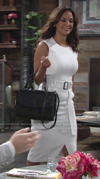 Celeste's white belted sheath dress on The Young and the Restless