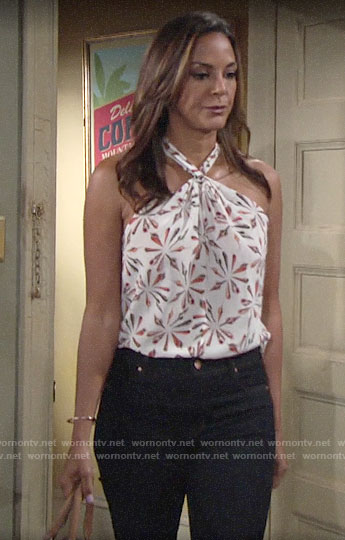 Celeste's white printed halter neck top on The Young and the Restless