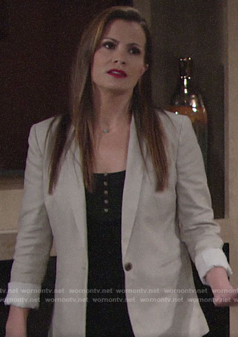 Chelsea's beige blazer on The Young and the Restless