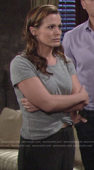 Chelsea's grey twist front tee on The Young and the Restless