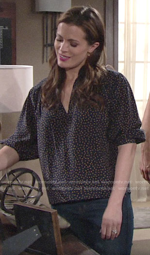 Chelsea's navy polka dot top on The Young and the Restless
